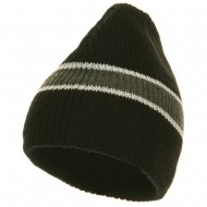 Center Stripe Beanie - Black Grey