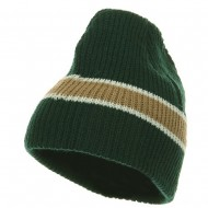 Center Stripe Beanie - ForestGreen Khaki