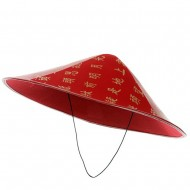 Chinese Coolie Hat - Red