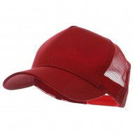 5 Panel Pet Spun Mesh Cap - Red