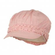 Ladies Brushed Canvas Newsboy Hat - Pink