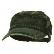 Heavy Washed Mesh Bill Army Cap - Yellow Denim