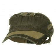 Heavy Washed Mesh Bill Army Cap - Woodland