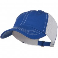 Unstructured Cotton Twill Mesh Cap - Royal White