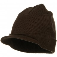 Big Knit Ribbed Beanie with Visor - Brown