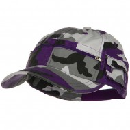 Casual Style Camo Washed Pocket Cap - Lilac