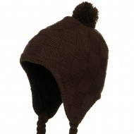 Solid Checker Design Knit Hat - Brown