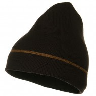 Contrast Stitched Solid Beanie - Brown