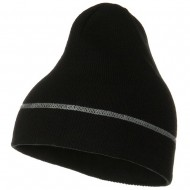 Contrast Stitched Solid Beanie - Black