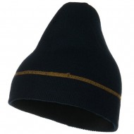 Contrast Stitched Solid Beanie - Navy