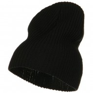 Ribbed Classic XL Size Cotton Beanie - Black