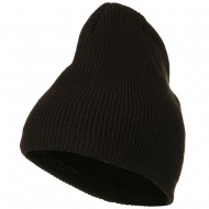 Rib Beanie with Bottom Band - Brown