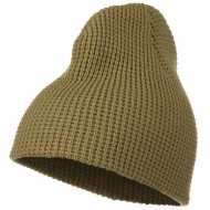 Big Stretch Waffle Stitch Short Beanie - Sand Khaki