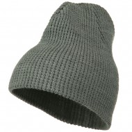 Big Stretch Waffle Stitch Short Beanie - Grey