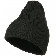 Big Stretch Waffle Stitch Short Beanie - Charcoal