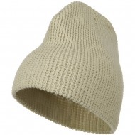 Big Stretch Waffle Stitch Short Beanie - Beige