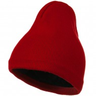 Fleece-Lined Plain Beanie - Red