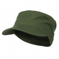 Big Size Cotton Fitted Military Cap - Olive