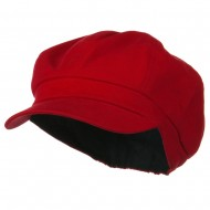 Cotton Elastic Newsboy Youth Cap - Red