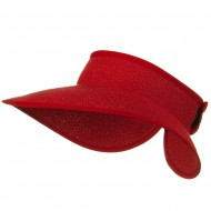 UPF 50+ Bow Tie Tweed Roll Up Visor - Red