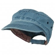 Enzyme Frayed Army Caps-Pinstripe