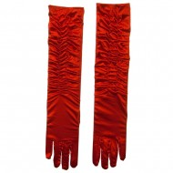 Gathered Satin 18 Inch Long Glove - Red