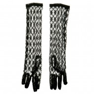 16 Inch Long Lace Glove - Black