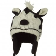 Adult Animal Wool Ski Beanie - Skunk