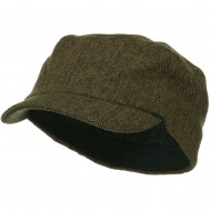 Wool Fashion Fitted Engineer Cap-Brown