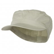 Big Size Cotton Fitted Military Cap - Stone