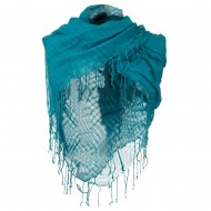 Over sized Viscose Square Scarf - Blue