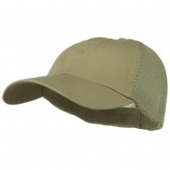 Big Size Summer Twill Mesh Flexible Fitted Cap - Khaki