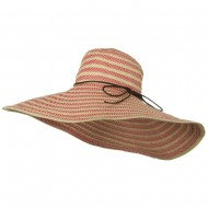Big Brim Stripe Braid Hat - Red