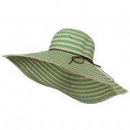 Big Brim Stripe Braid Hat - Green