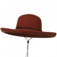 UPF 50+ Cotton Paper Braid Kettle Brim Hat - Brick