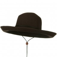 UPF 50+ Cotton Paper Braid Kettle Brim Hat - Brown