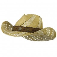 Two Tone Trimming Cowboy Hat - Natural Ivory