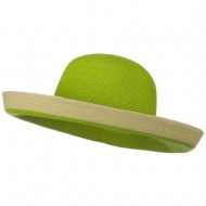 Two Tone Wide Tan Kettle Brim Hat - Lime