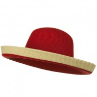 Two Tone Wide Tan Kettle Brim Hat - Red