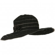 UPF 40+ Gathered Ribbon Stripe Flower Hat - Black