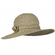 UPF 40+ Gathered Ribbon Stripe Flower Hat - Taupe