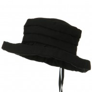 Woman's Ribbon 3 Inch Brim Pleated Crown Hat - Black