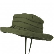 Woman's Ribbon 3 Inch Brim Pleated Crown Hat - Green