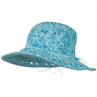 Girls Scallop Design Self Tie Hat - Blue