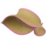 Raffia Wide Brim Roll Up Visor - Pink