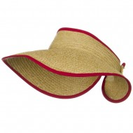 Raffia Wide Brim Roll Up Visor - Red