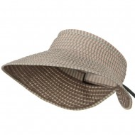 UPF 50+ Woman's Rolled Checkered Wide Brim Visor - Pink