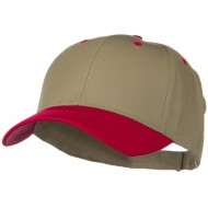 Two Tone Cotton Twill Low Profile Strap Cap - Red Khaki