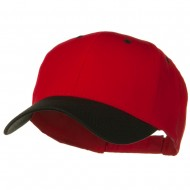 Two Tone Cotton Twill Low Profile Strap Cap - Black Red