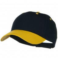 Two Tone Cotton Twill Low Profile Strap Cap - Gold Navy